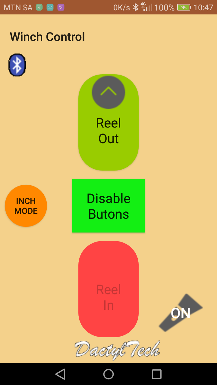 Screenshot of remote control for 4x4 winch