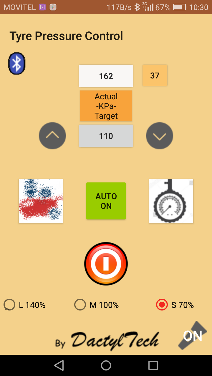 mobile phone remote controlled tyre inflator/deflator app screenshot